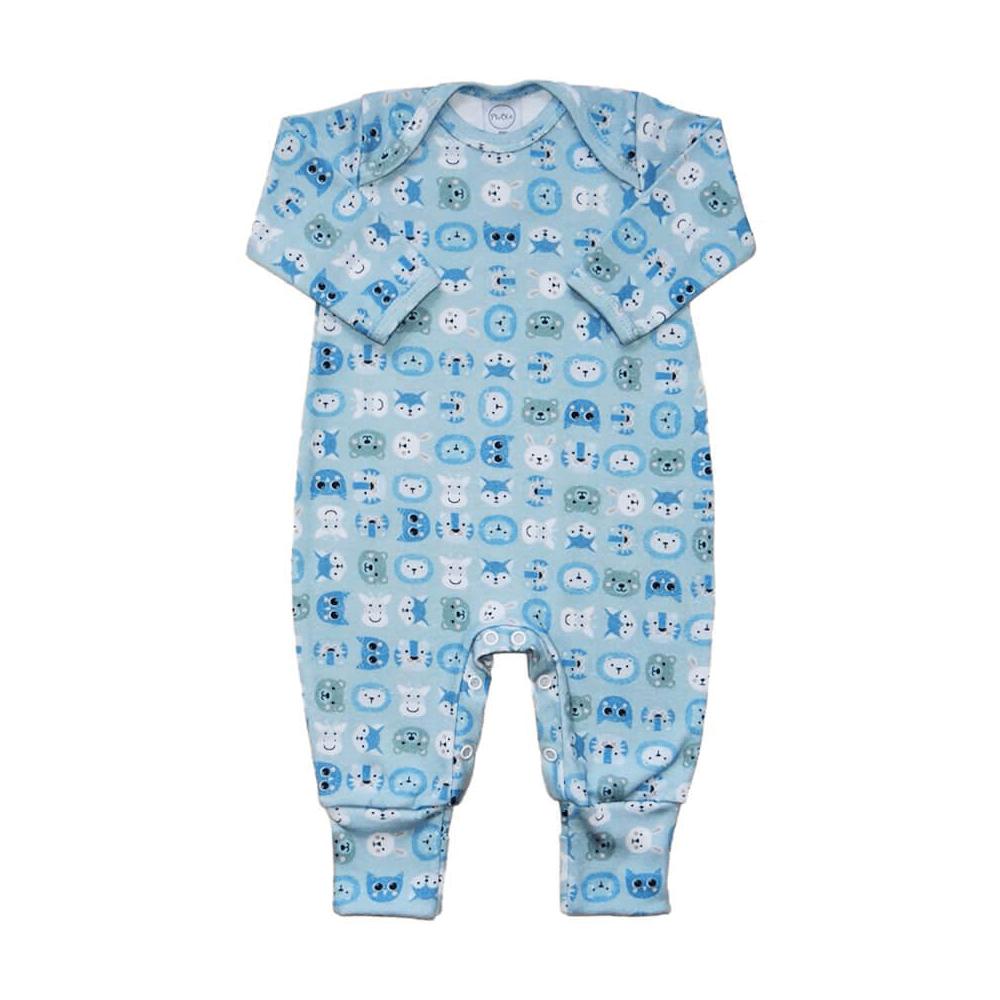 Macacão Bebê Longo Pezinho Reversível Zoo  - Piu Blu