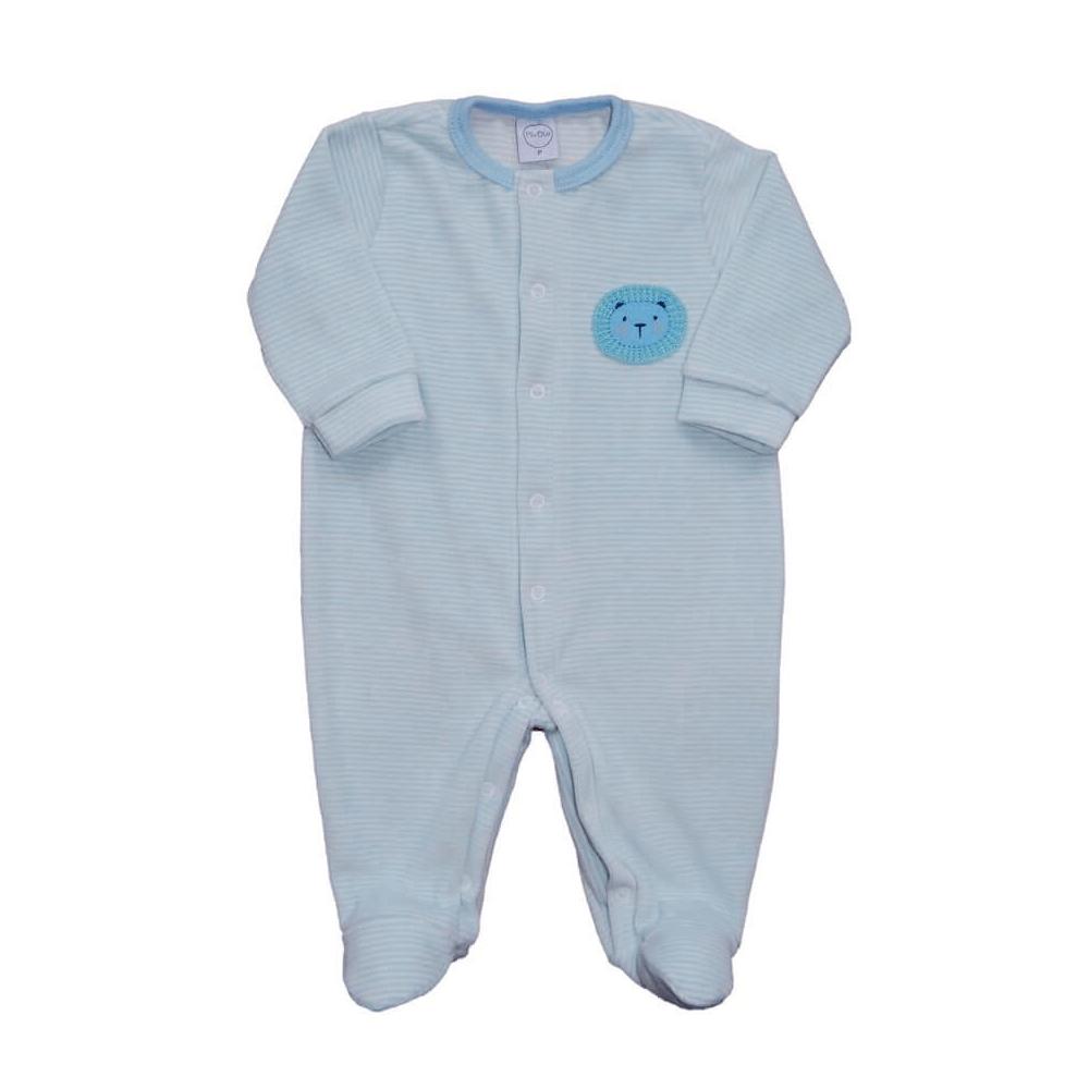 Macacão Bebê Plush Listrado Azul - Tamanhos RN e P com pezinho; M, G e XG sem pezinho