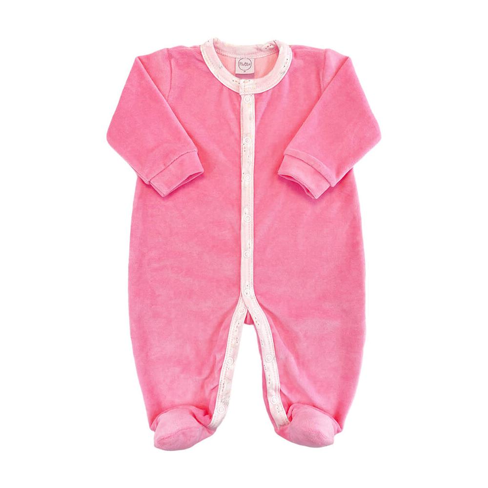 Macacão Bebê Longo Plush Rosa - Todos os tamanhos com pezinho