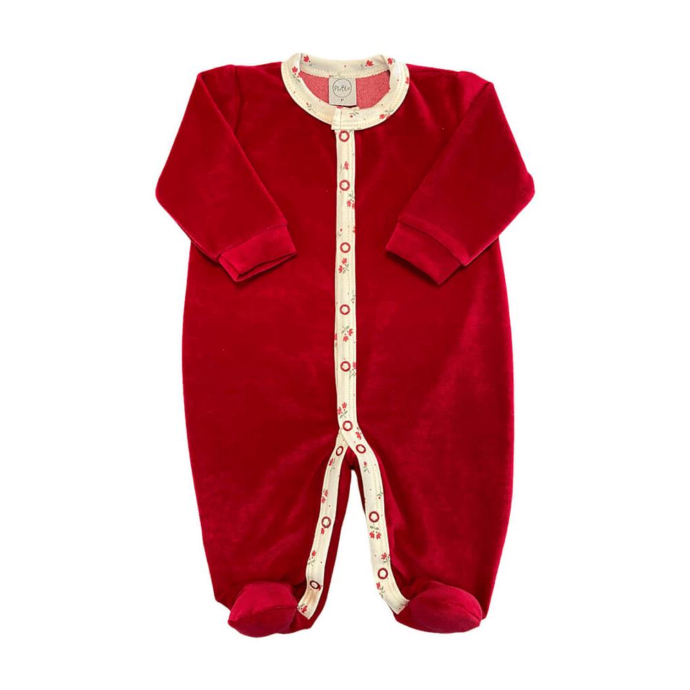 Macacão Bebê Longo Plush Vermelho - Todos os tamanhos com pezinho  - Piu Blu
