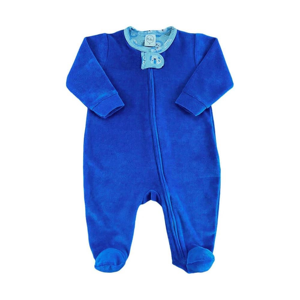 Macacão Bebê Longo Plush Zíper Azul Bichinhos - RN e P com pezinho; M, G e XG sem pezinho