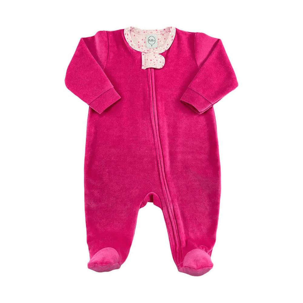 Macacão Bebê Plush Zíper Pink Bolinhas Branco e Chiclete - Tamanhos RN e P com pezinho; M, G e XG sem pezinho