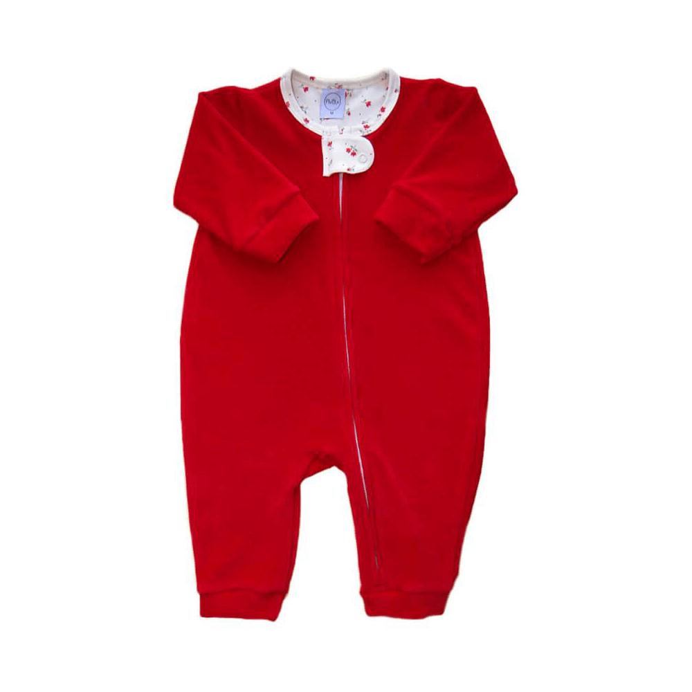 Macacão Bebê Longo Plush Zíper Vermelho Floral - RN e P com pezinho; M, G e XG sem pezinho