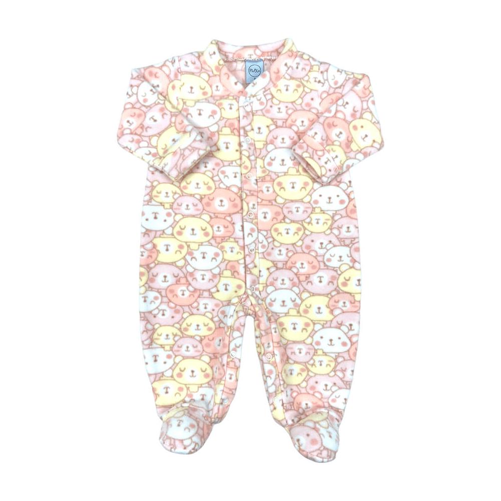 Macacão Bebê Soft Carinhas Rosa - Tamanhos RN e P com pezinho; M ao XG sem pezinho  - Piu Blu