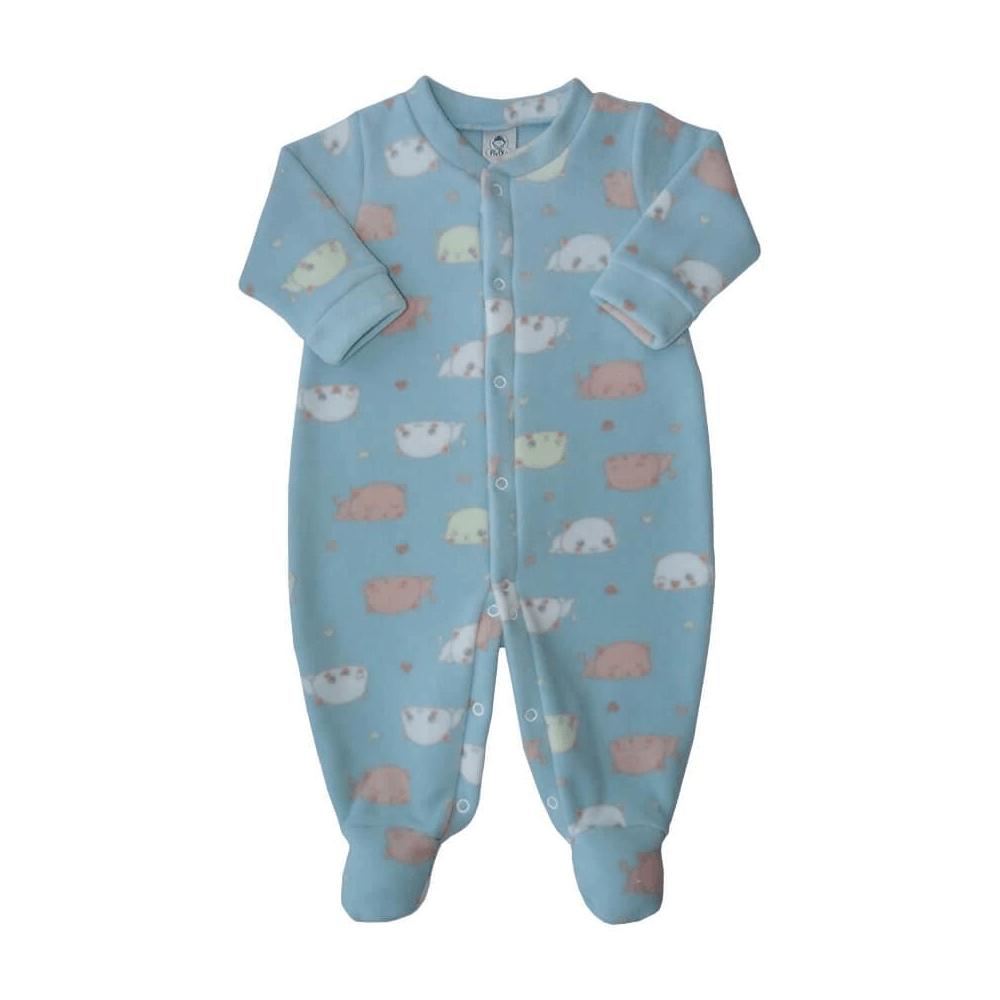 Macacão Bebê Longo Soft Gatinho Azul  - Piu Blu