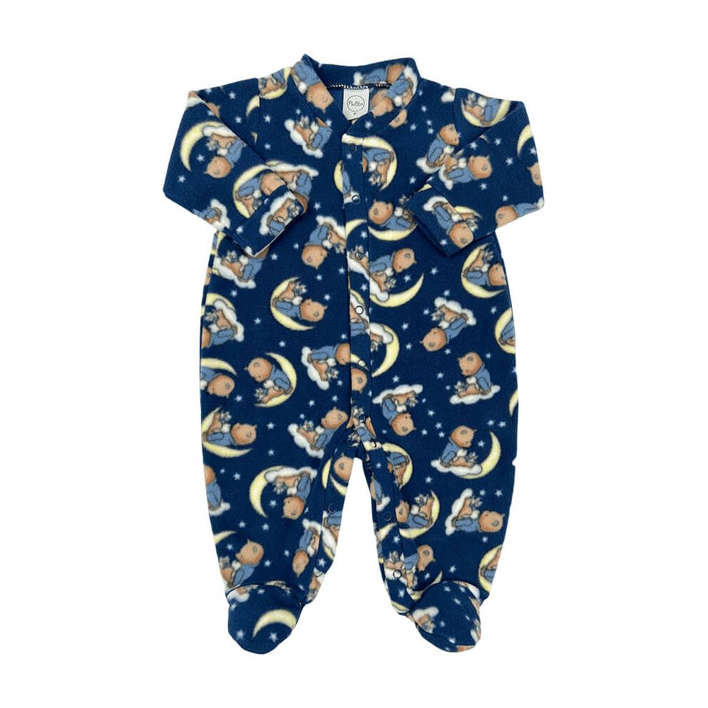 Macacão Bebê Longo Soft Luar Marinho - Todos os tamanhos com pezinho  - Piu Blu