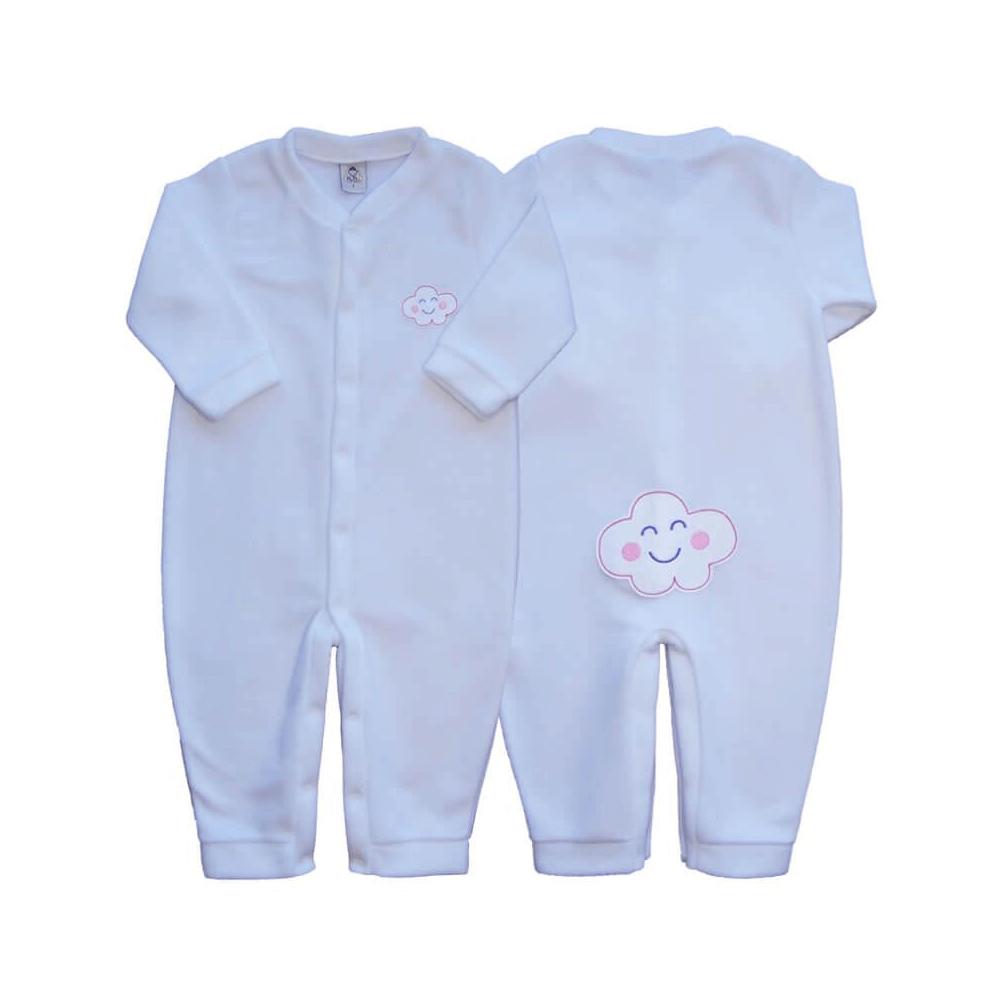 Macacão Bebê Longo Soft Nuvem Branco - 1 ao 3  - Piu Blu