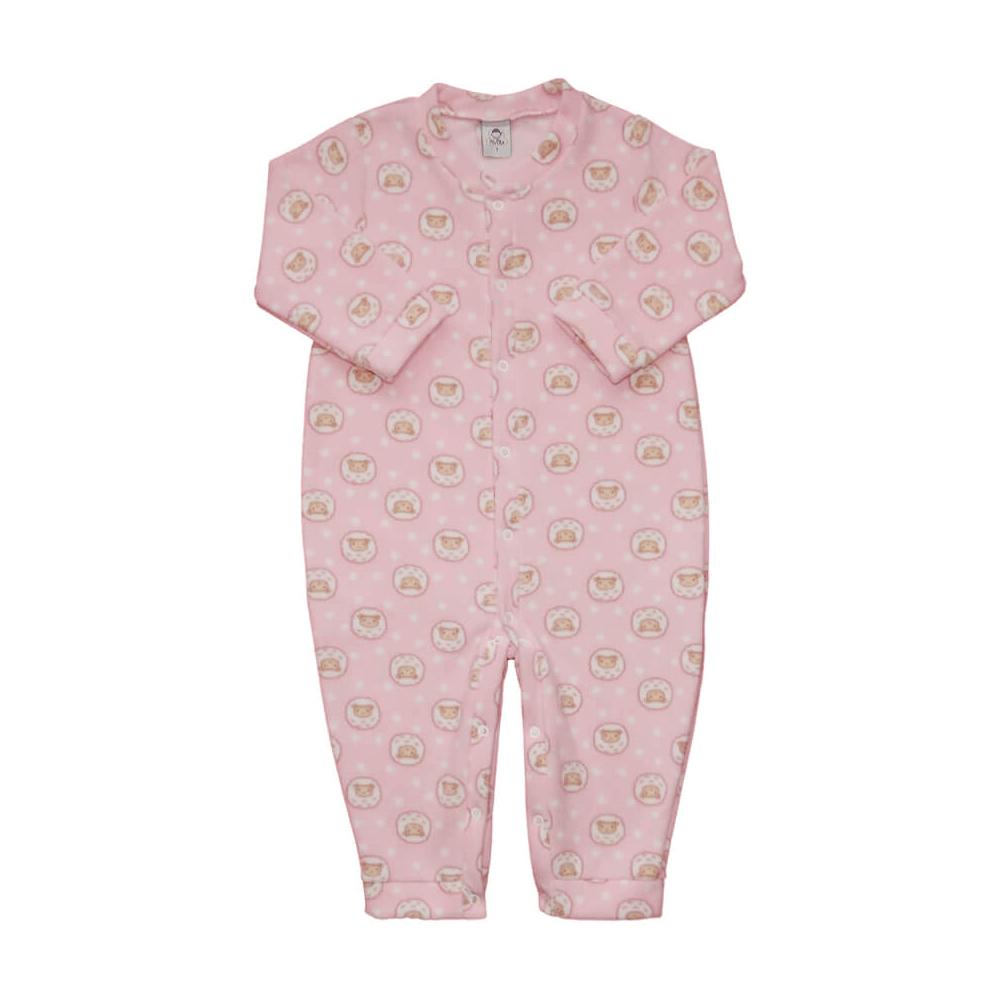 Macacão Bebê Longo Soft Ovelhinha Rosa - 1 ao 3  - Piu Blu