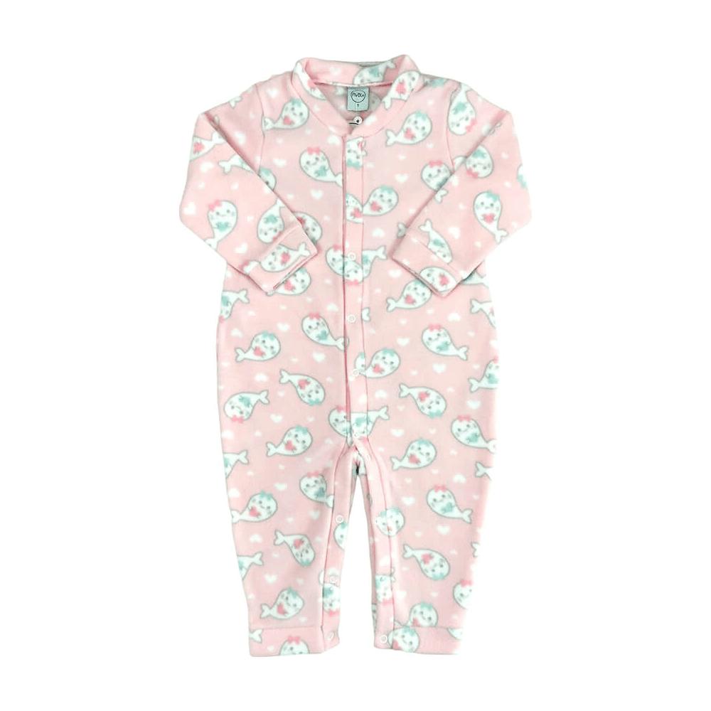 Macacão Bebê Longo Soft Peixinhos Rosa - 1 ao 3
