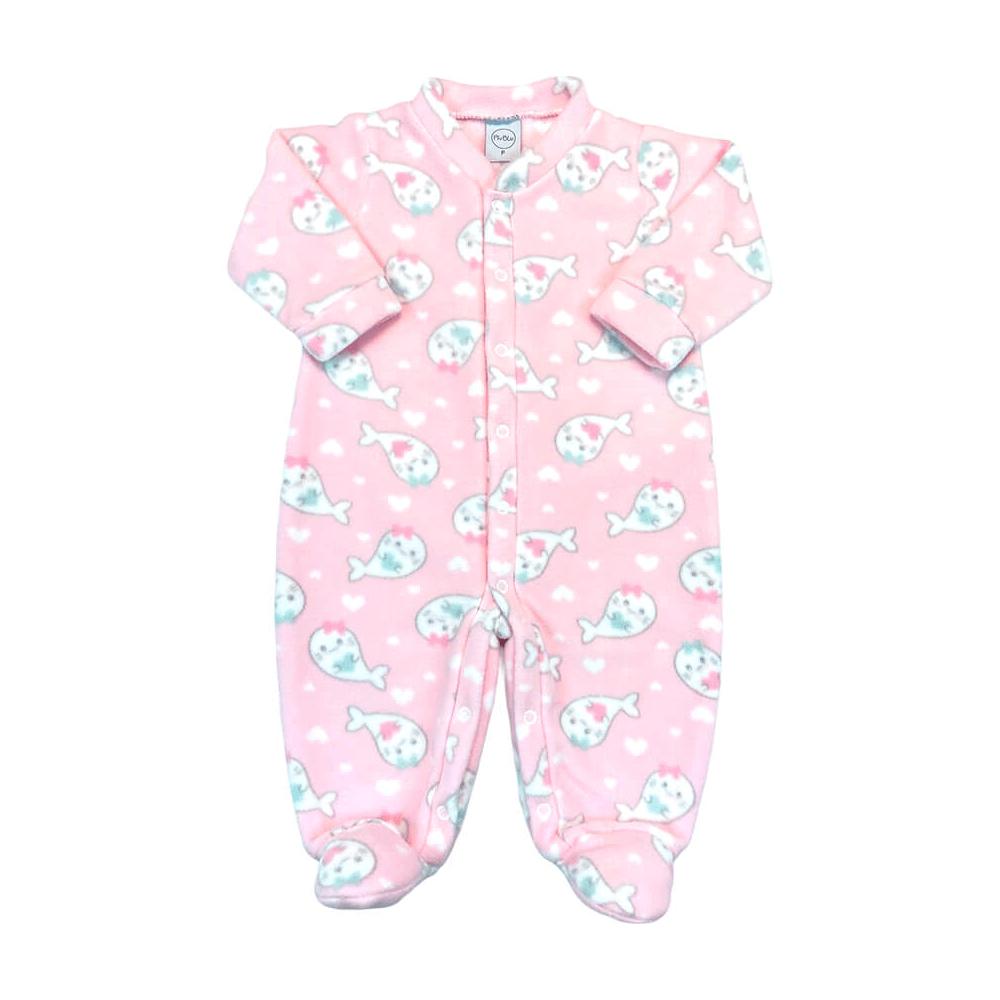 Macacão Bebê Longo Soft Peixinhos Rosa - Todos os tamanhos com pezinho