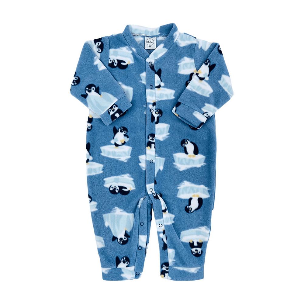Macacão Bebê Longo Soft Pinguim - 1 ao 3  - Piu Blu