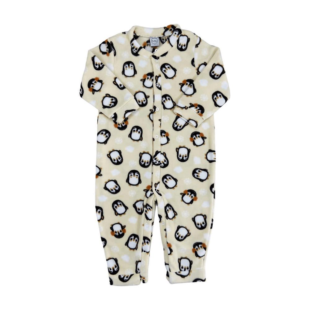 Macacão Bebê Soft Pinguim - 1 ao 3 Soft  - Piu Blu