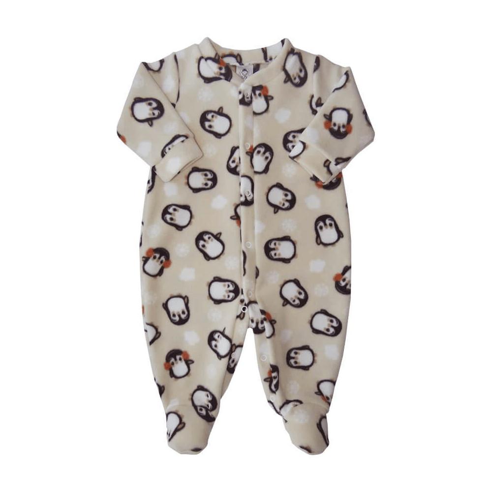 Macacão Bebê Longo Soft Pinguim  - Piu Blu