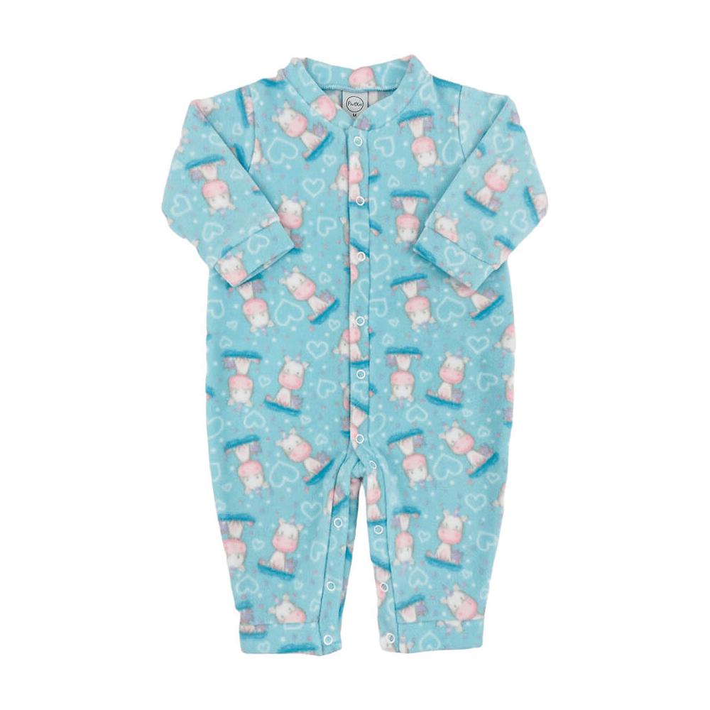 Macacão Bebê Longo Soft Unicórnio Azul - 1 ao 3  - Piu Blu