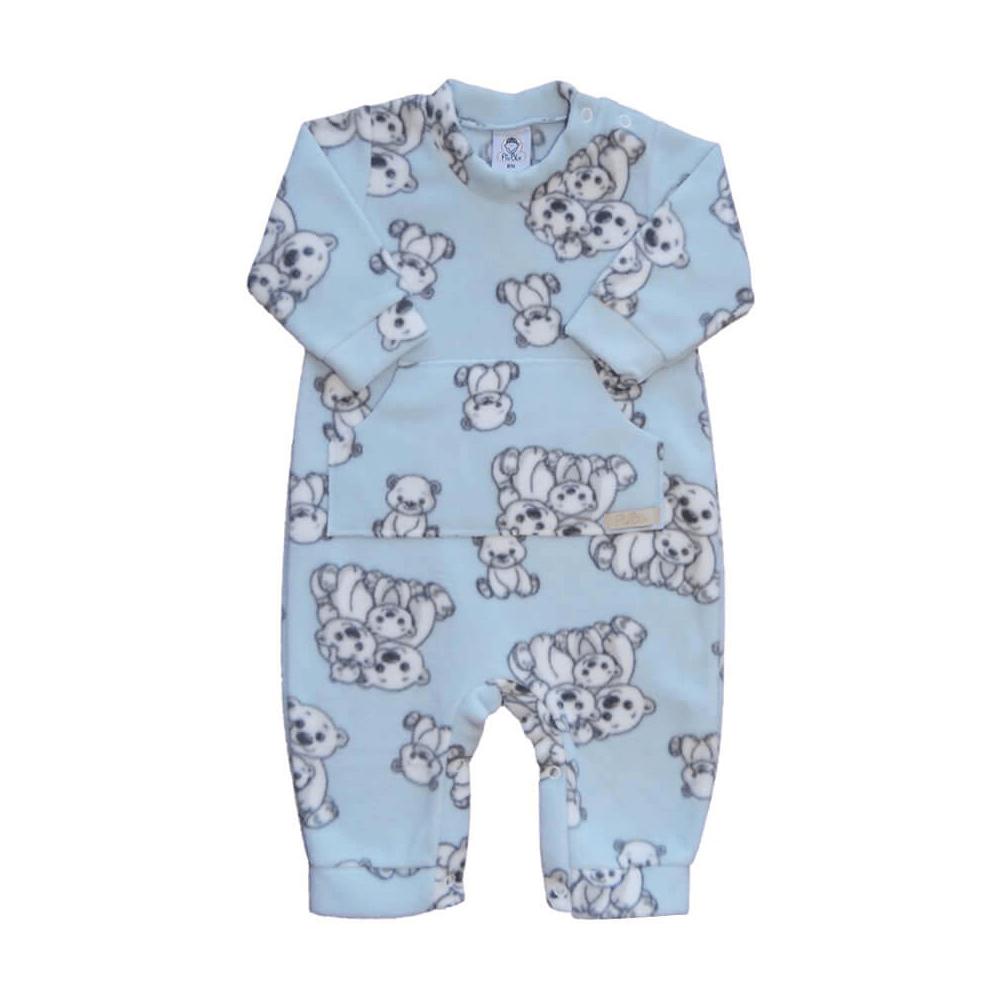 Macacão Bebê Longo Soft Ursos Azul  - Piu Blu