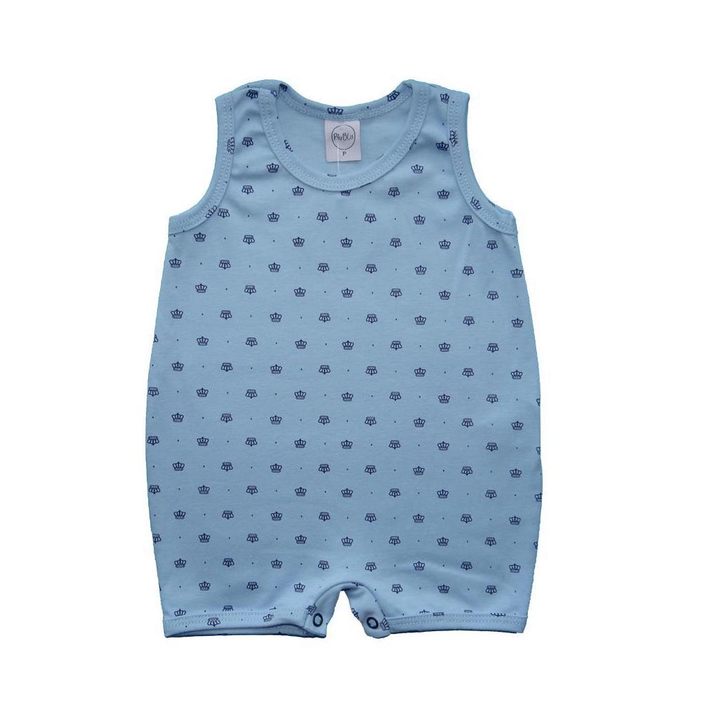 Macacão Bebê Curto Coroas  - Piu Blu
