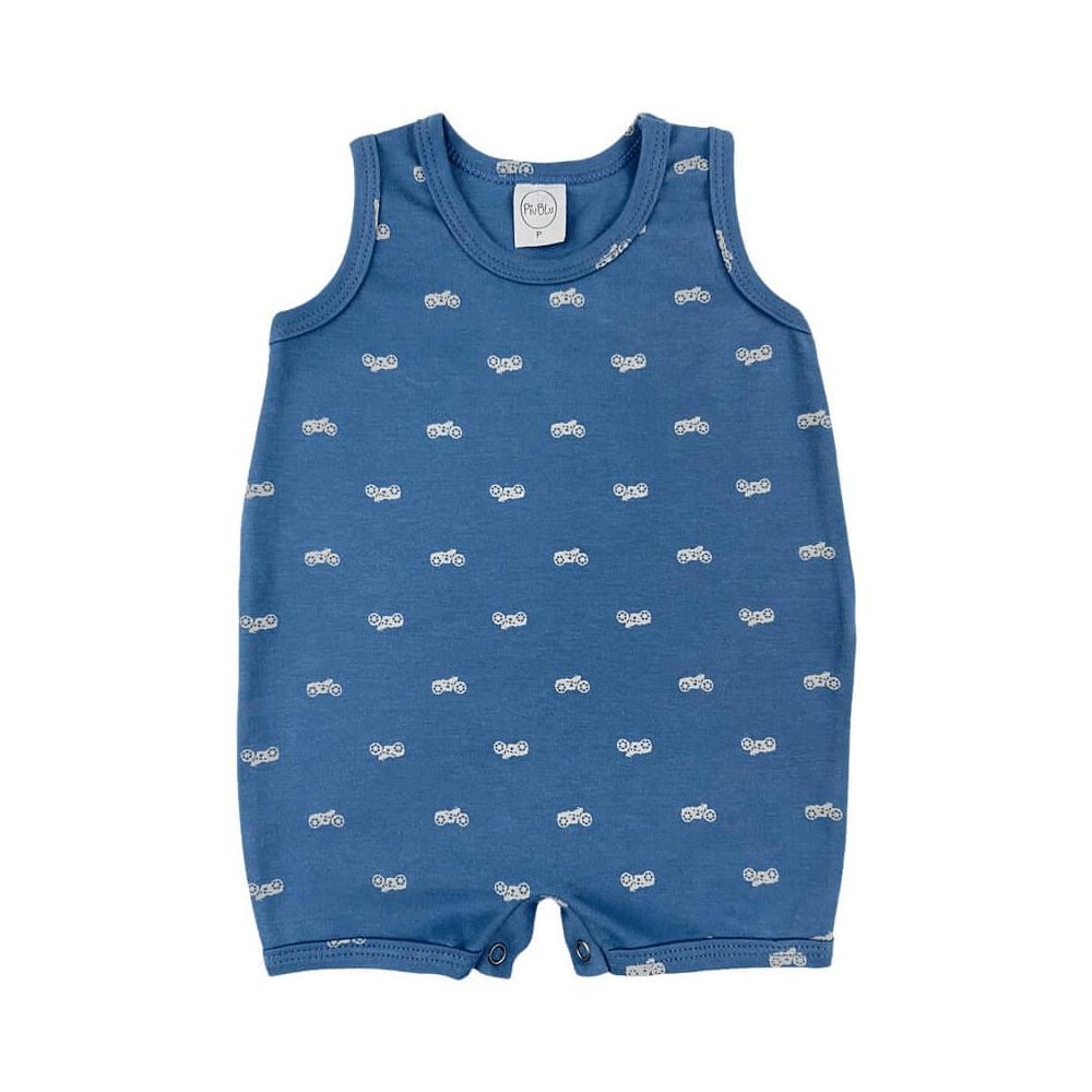 Macacão Bebê Suedine Motoca  - Piu Blu
