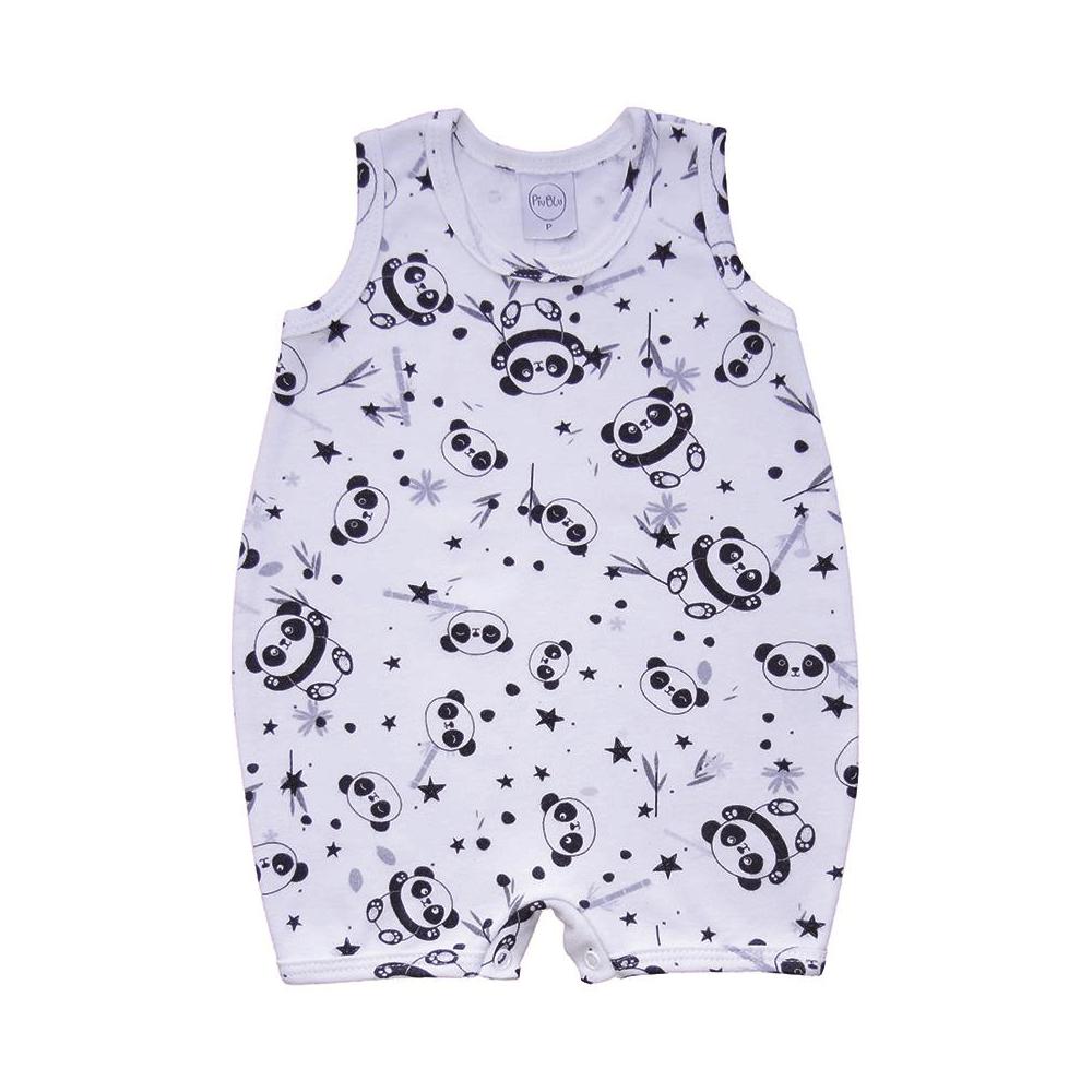 Macacão Bebê Curto Pandas