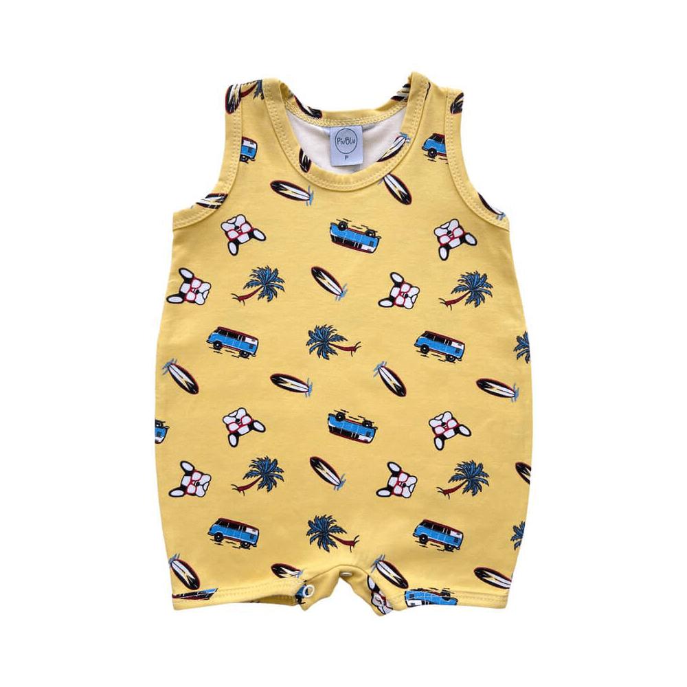 Macacão Bebê Curto Surf Amarelo  - Piu Blu