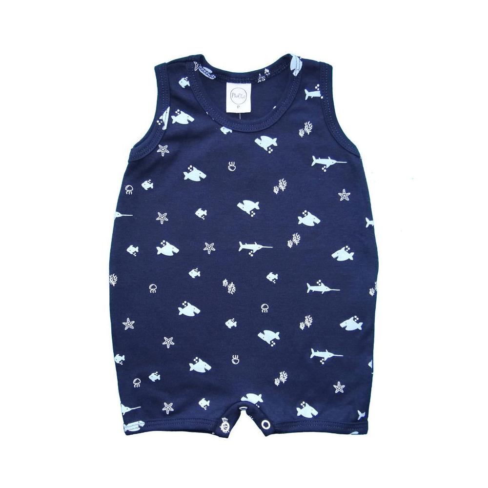 Macacão Bebê Curto Tubarão  - Piu Blu