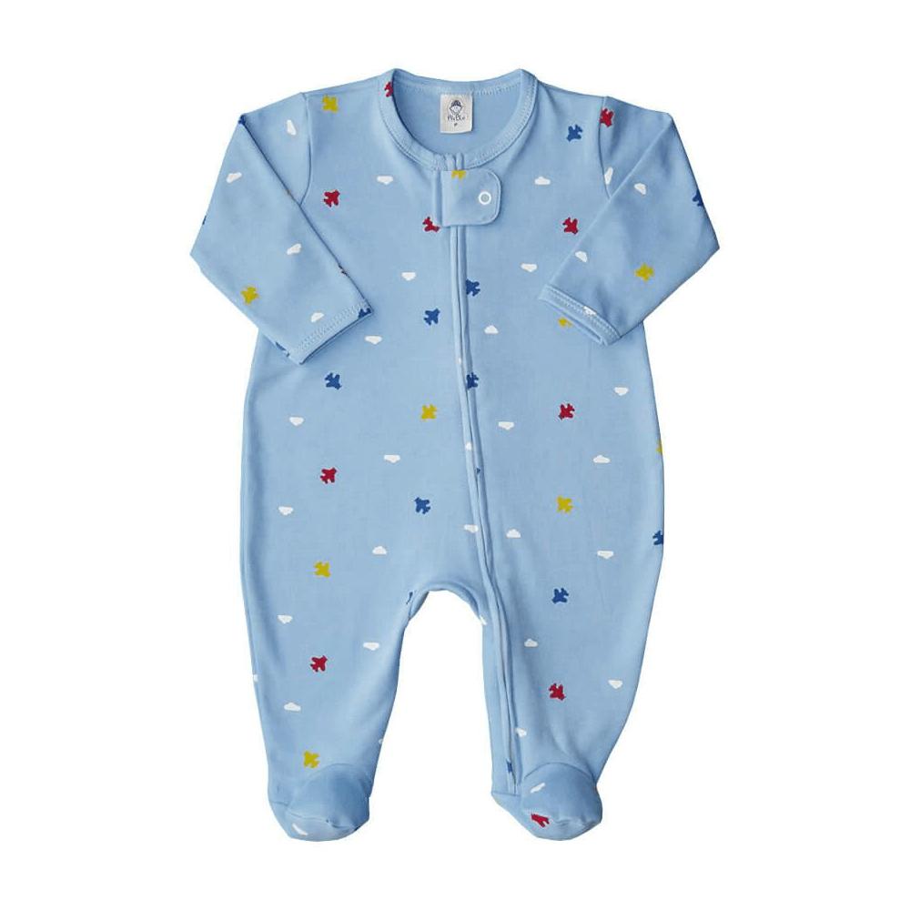 Macacão Bebê Longo Zíper Aviãozinho - RN e P com pezinho; M, G e XG sem pezinho  - Piu Blu