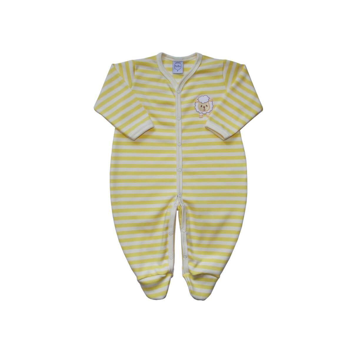 Macacão Listrado Ovelhinha Amarelo  - Piu Blu