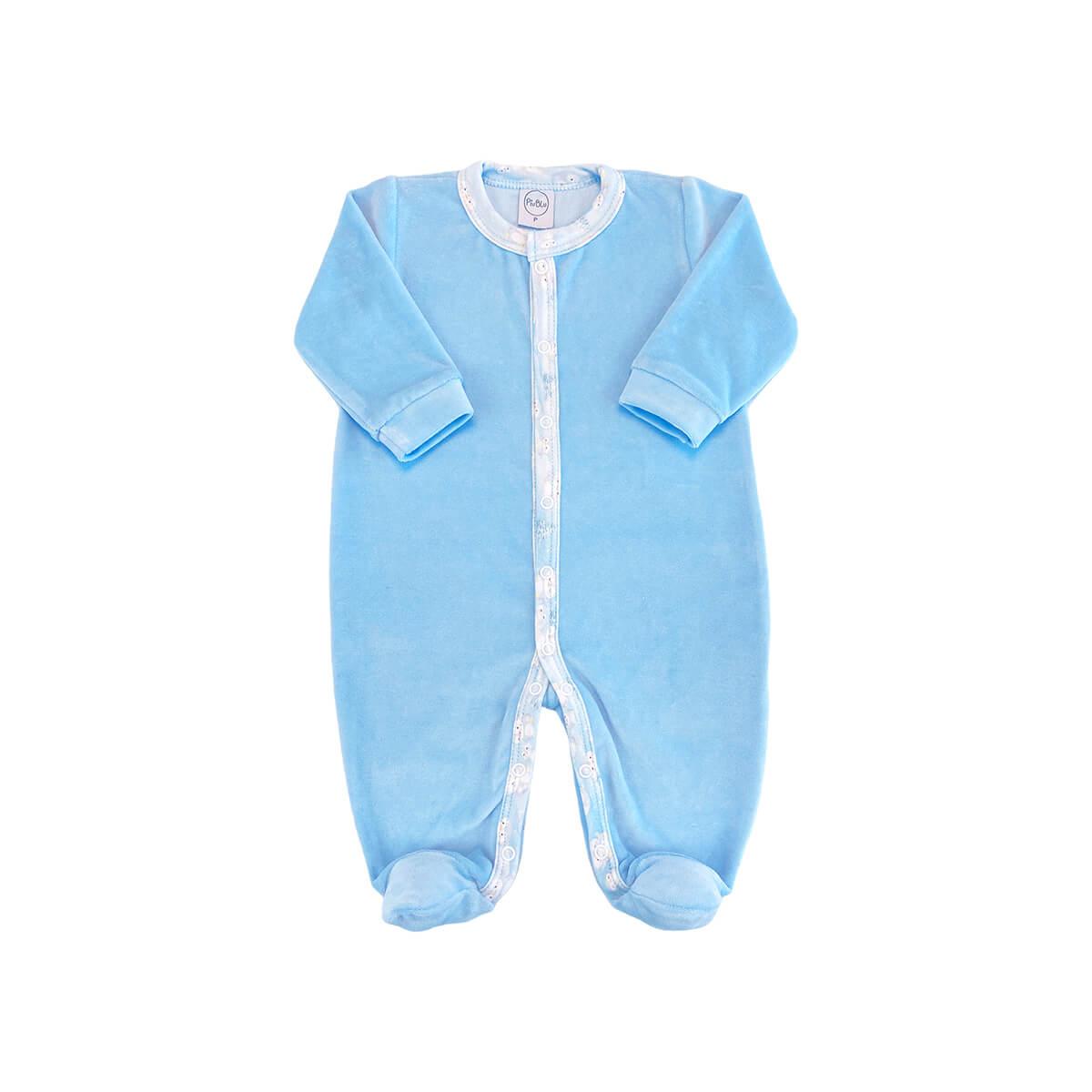 Macacão Plush Azul Claro - Todos os tamanhos com pezinho