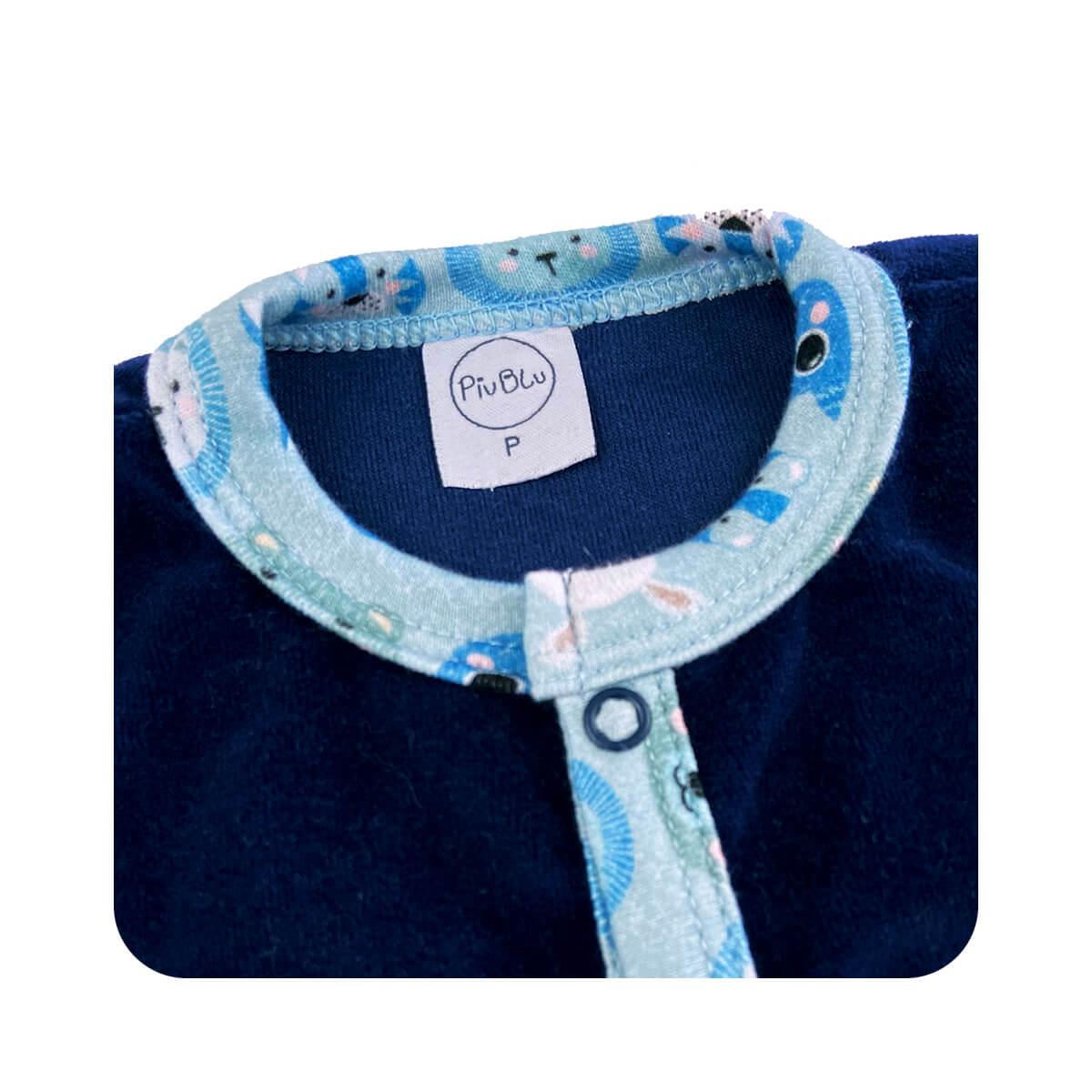 Macacão Plush Marinho - Todos os tamanhos com pezinho  - Piu Blu