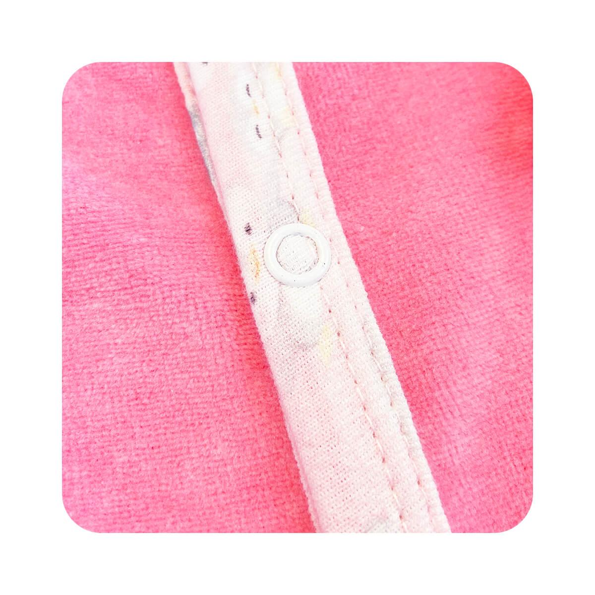 Macacão Plush Rosa - Todos os tamanhos com pezinho  - Piu Blu