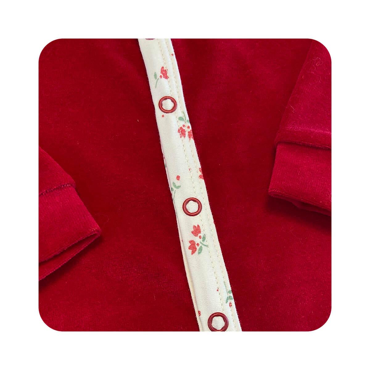 Macacão Plush Vermelho - Todos os tamanhos com pezinho  - Piu Blu