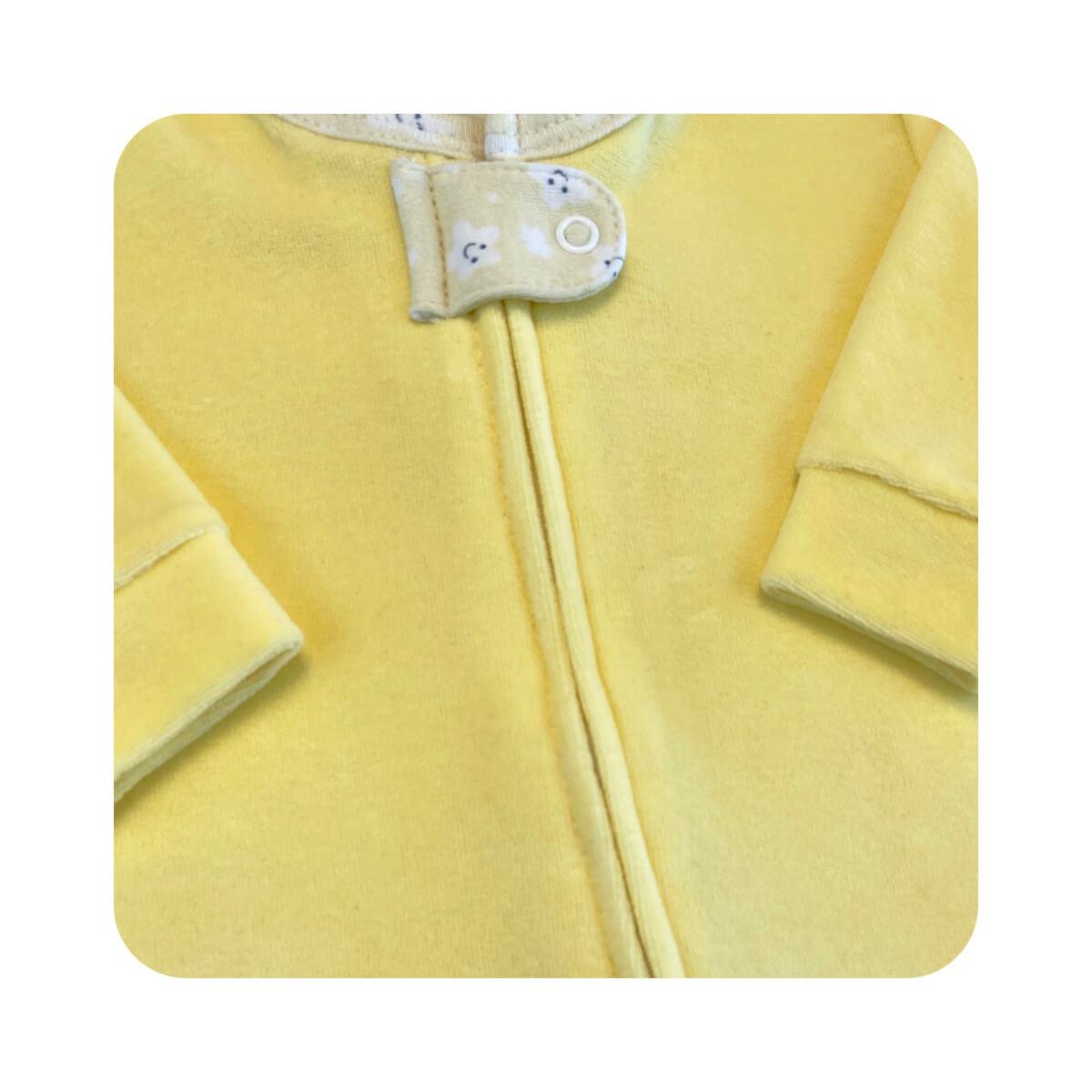 Macacão Bebê Plush Zíper Amarelo - Tamanhos RN e P com pezinho; M, G e XG sem pezinho  - Piu Blu