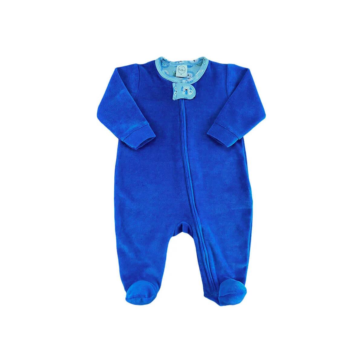 Macacão Plush Zíper Azul Bichinhos - Tamanhos RN e P com pezinho; M, G e XG sem pezinho