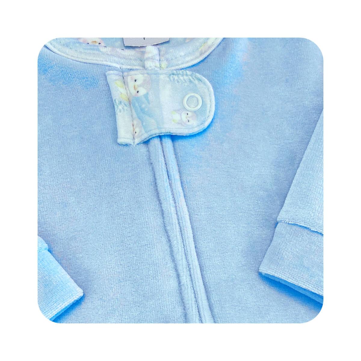 Macacão Plush Zíper Pinguim Azul - Tamanhos RN e P com pezinho; M, G e XG sem pezinho  - Piu Blu