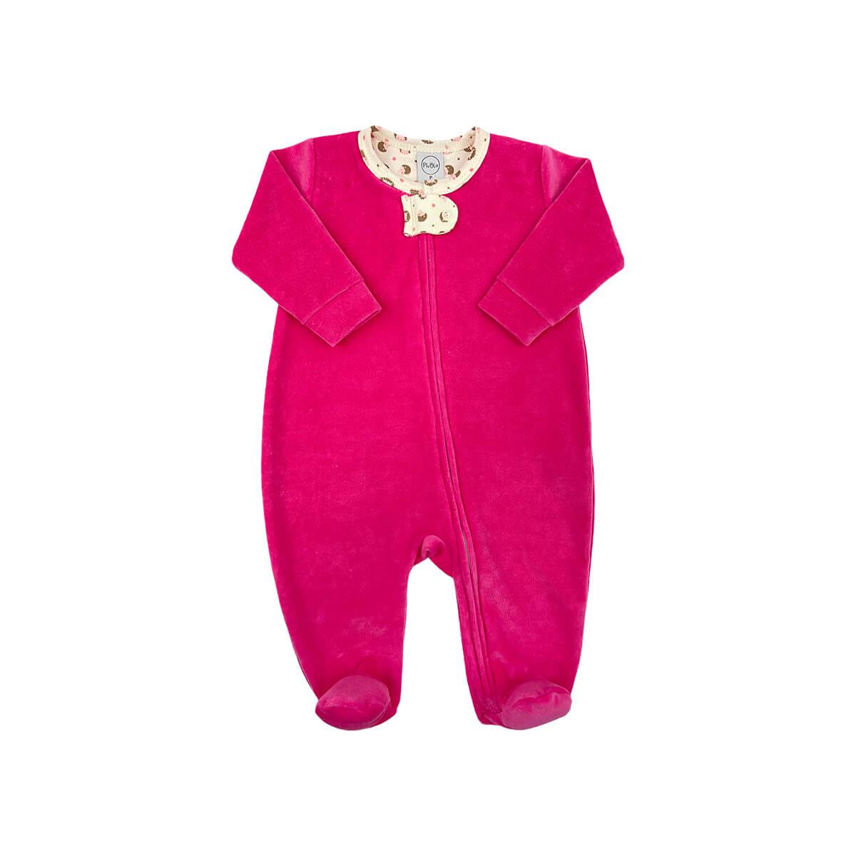 Macacão Plush Zíper Pink - Tamanhos RN e P com pezinho; M, G e XG sem pezinho