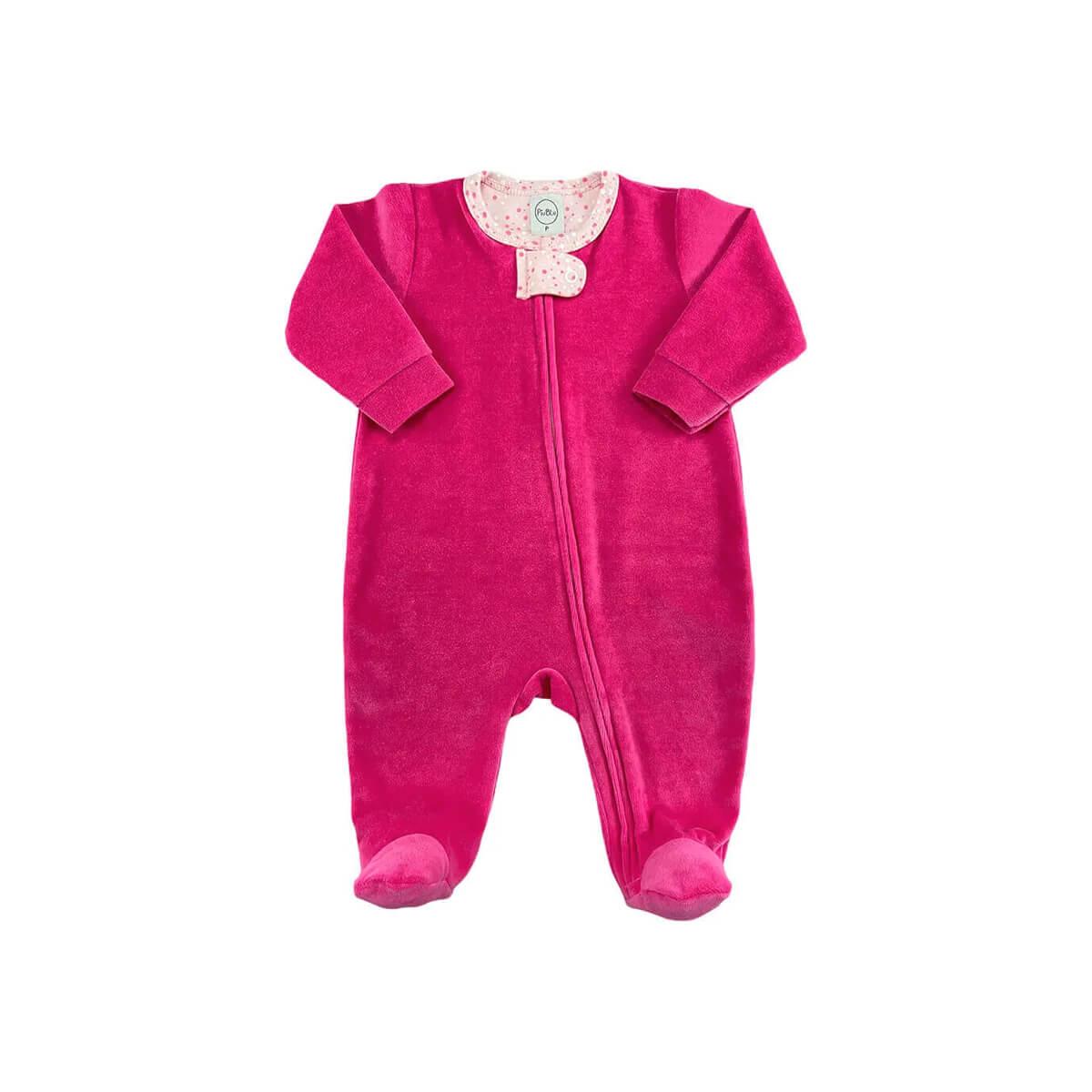 Macacão Plush Zíper Pink Bolinhas Branco e Chiclete - Tamanhos RN e P com pezinho; M, G e XG sem pezinho