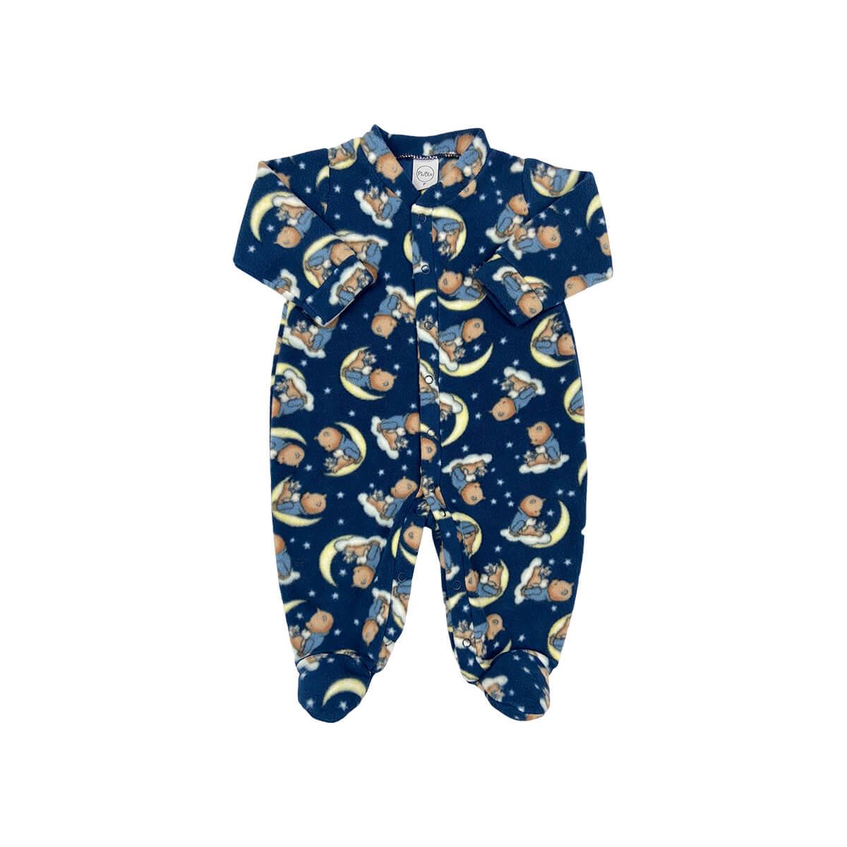 Macacão Soft Luar Marinho - Todos os tamanhos com pezinho  - Piu Blu