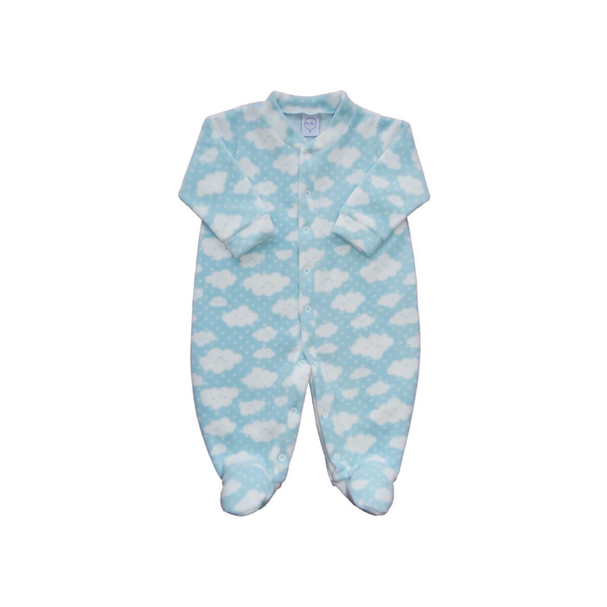 Macacão Bebê Soft Nuvens Azul  - Piu Blu