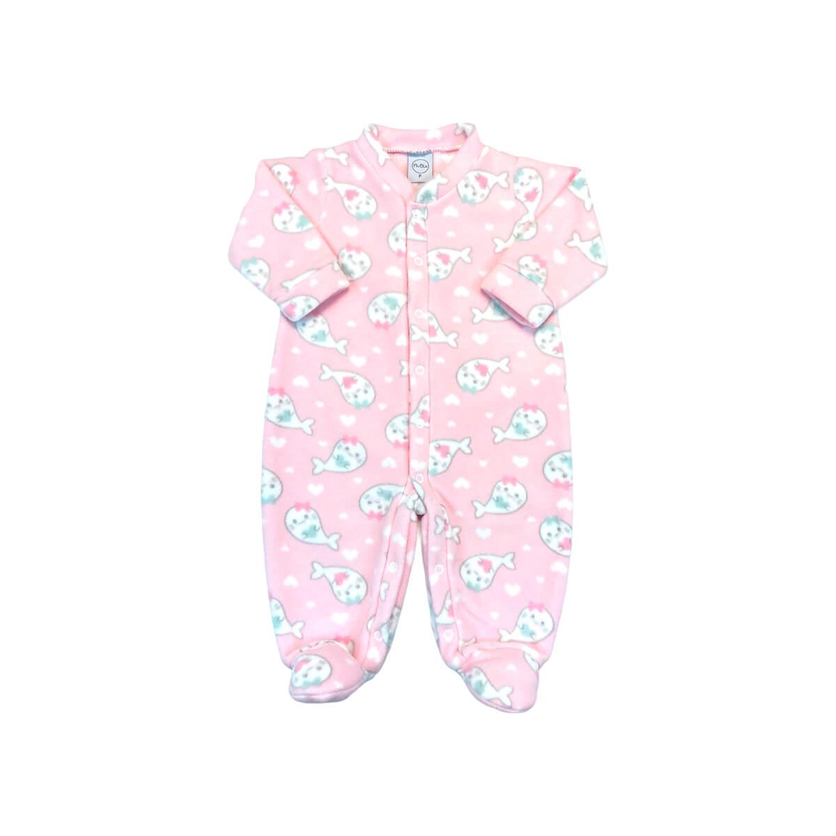 Macacão Soft Peixinhos Rosa - Todos os tamanhos com pezinho