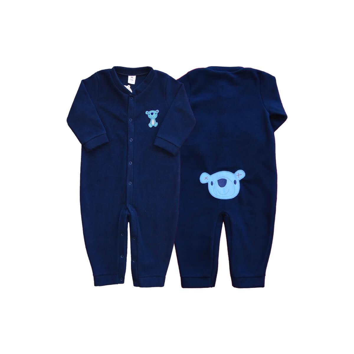 Macacão Bebê Soft Ursinho Marinho 1 ao 3 Soft  - Piu Blu