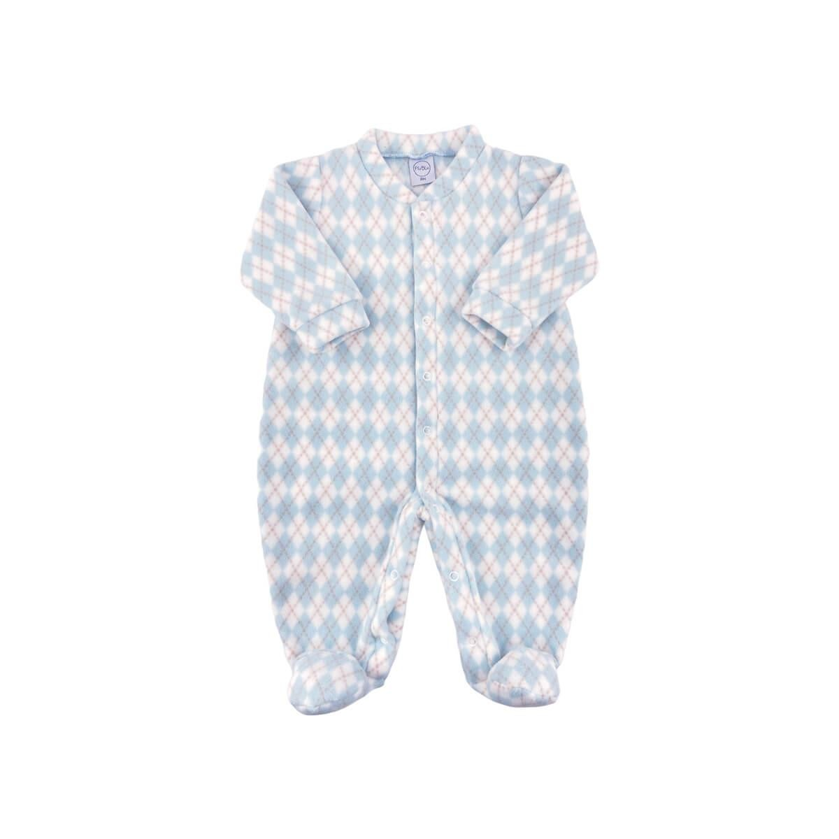 Macacão Soft Xadrez Azul Bebê Soft  - Piu Blu