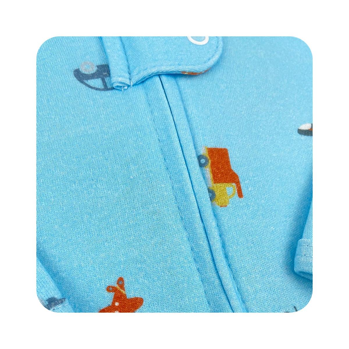 Macacão Bebê Zíper Transportes - - Tamanhos RN e P com pezinho; M, G e XG sem pezinho  - Piu Blu