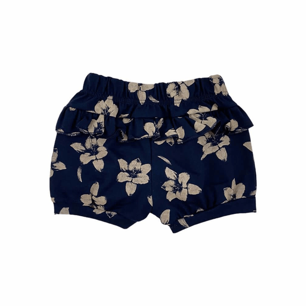 Shorts Bebê Feminino Floral Marinho  - Piu Blu