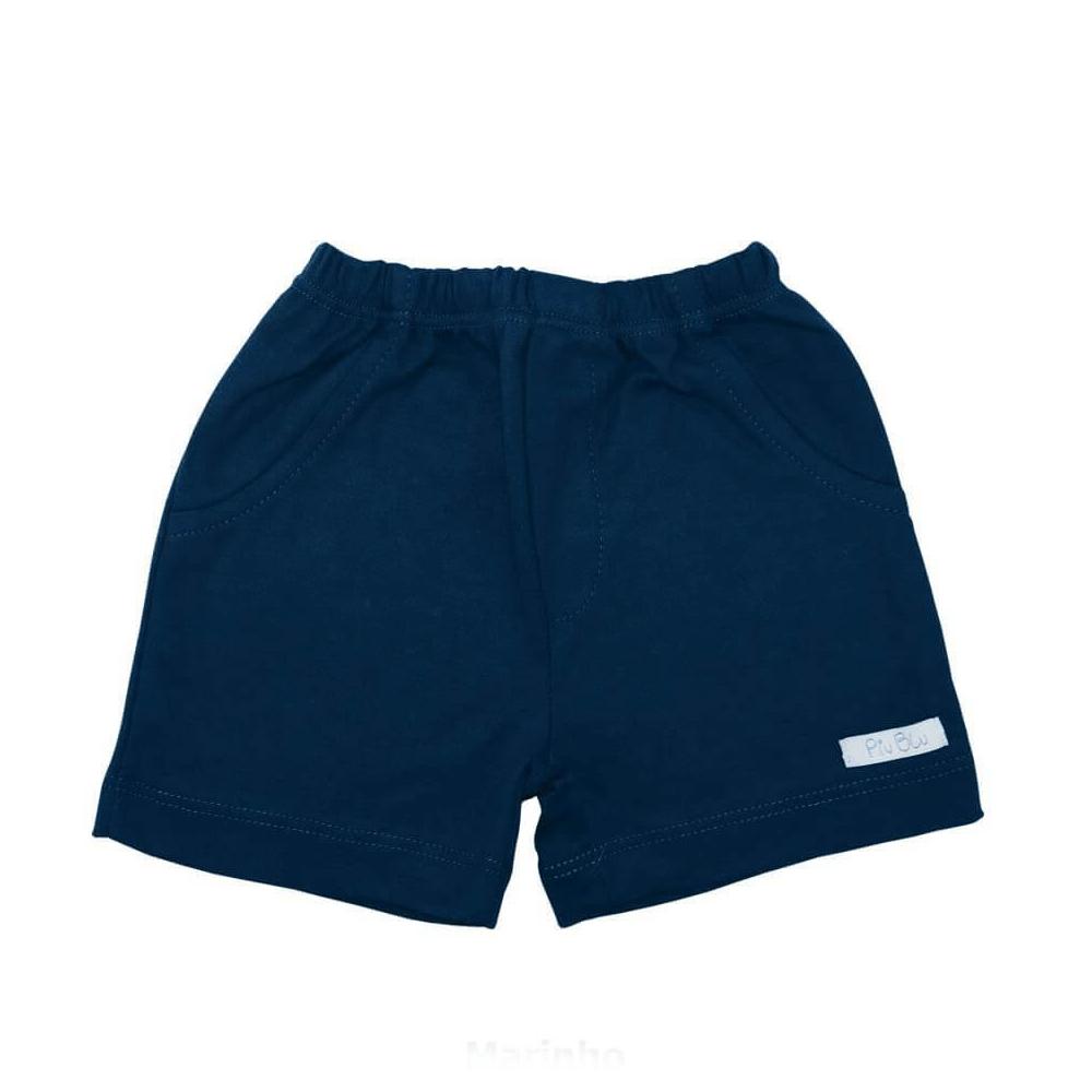 Shorts Bebê Masculino Azul Marinho - 1 ao 4  - Piu Blu