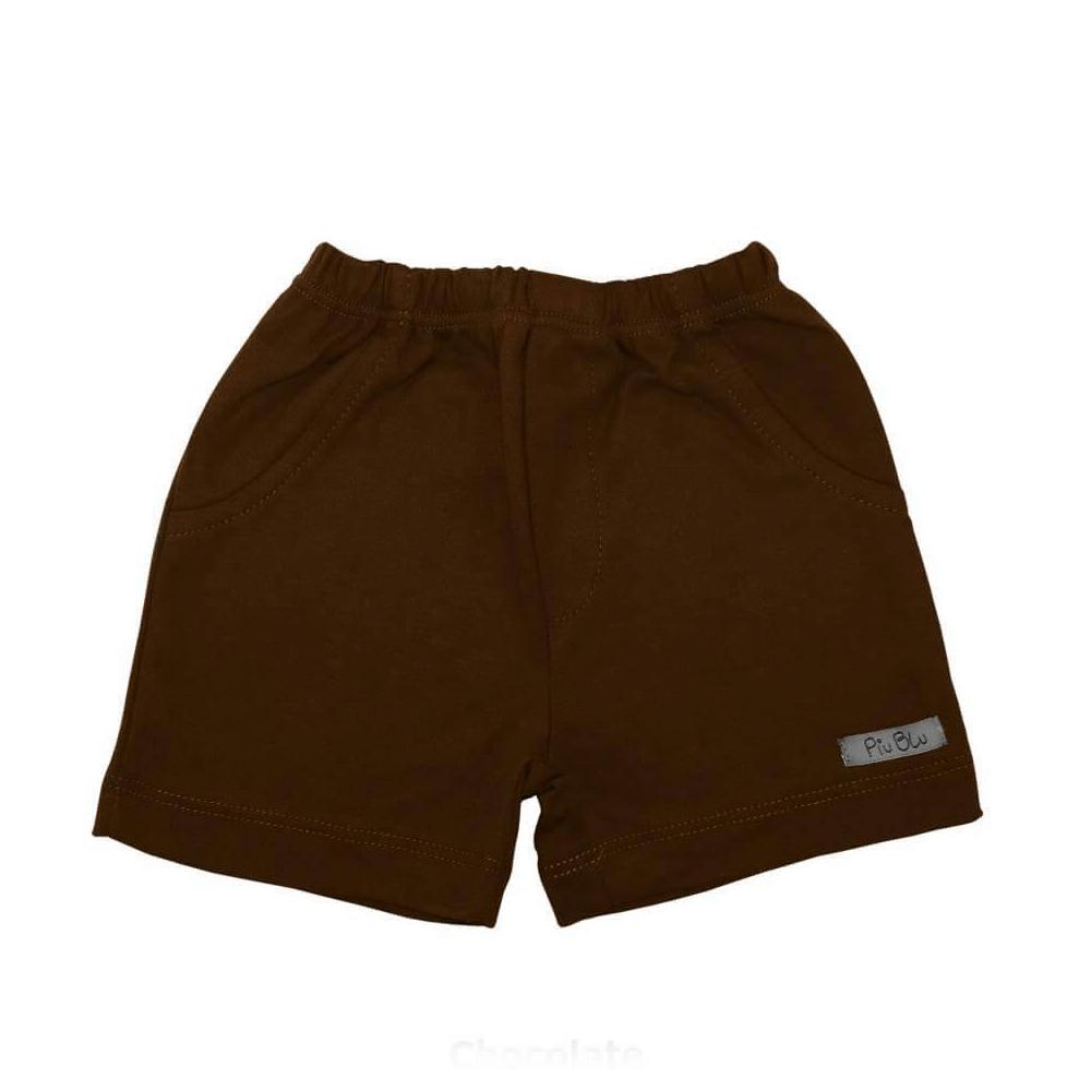 Shorts Bebê Masculino 1 ao 4 Chocolate  - Piu Blu