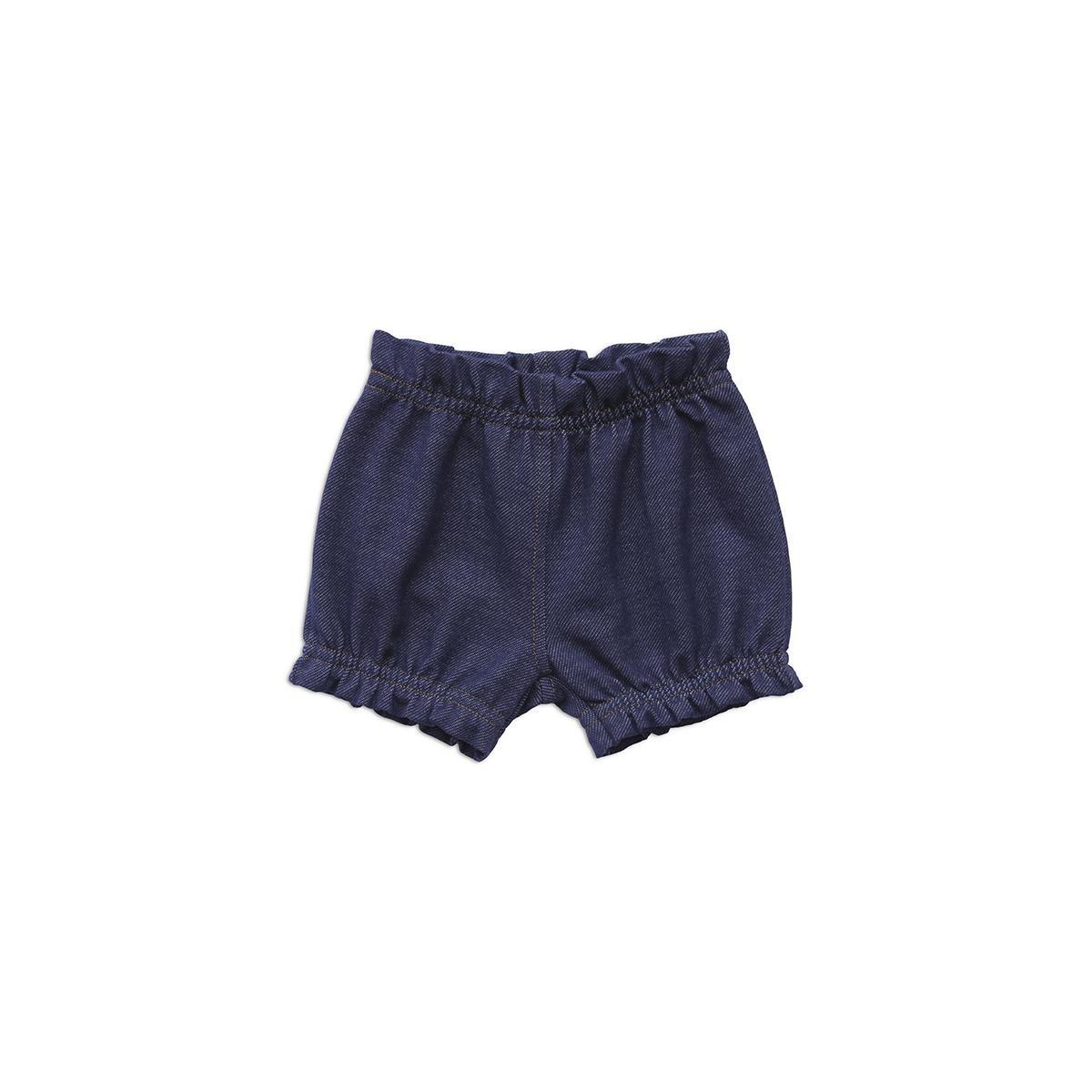 Shorts Feminino Estilo Jeans Moletinho 65% Algodão 31% Poliéster 4% Elastano  - Piu Blu
