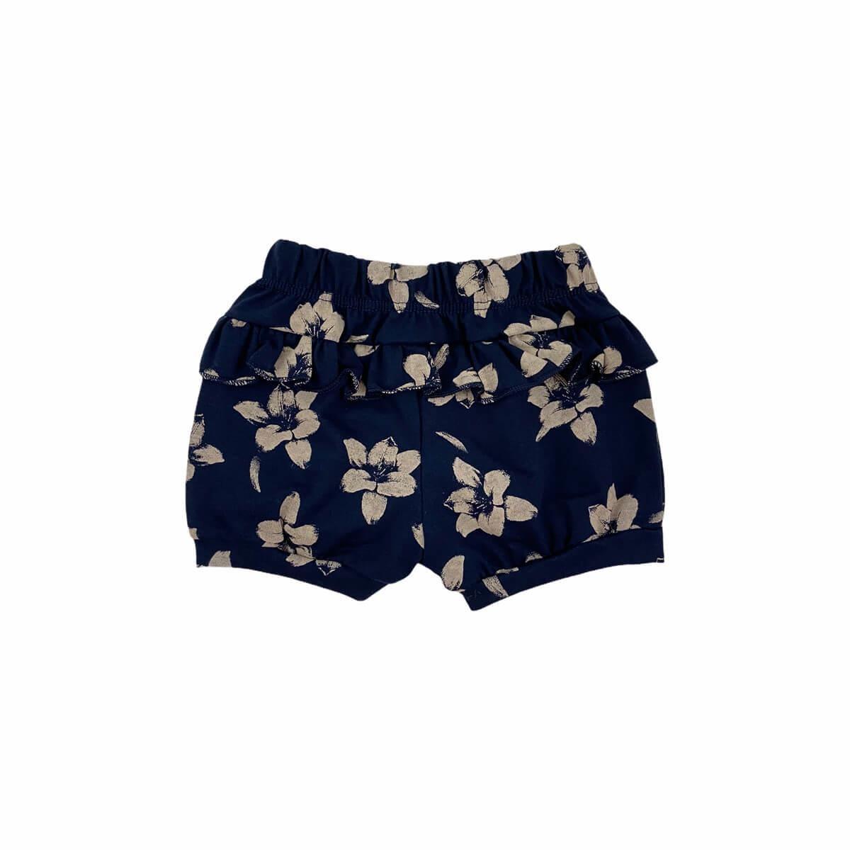 Shorts Feminino Floral Marinho Meia Malha 100% Algodão