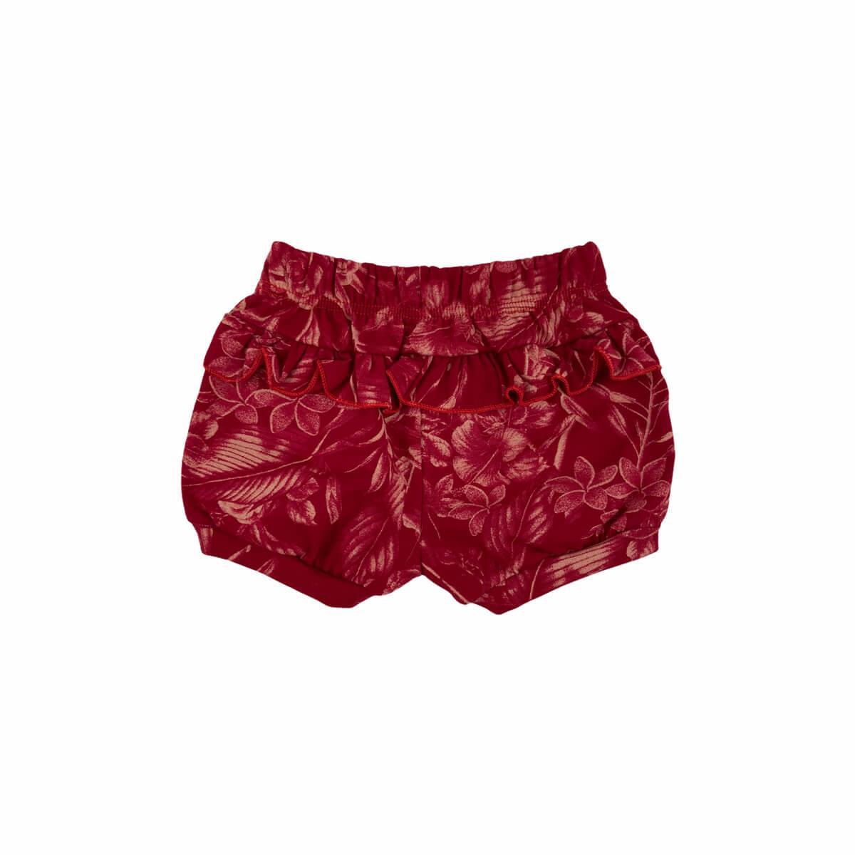 Shorts Feminino Floral Vermelho Meia Malha 100% Algodão