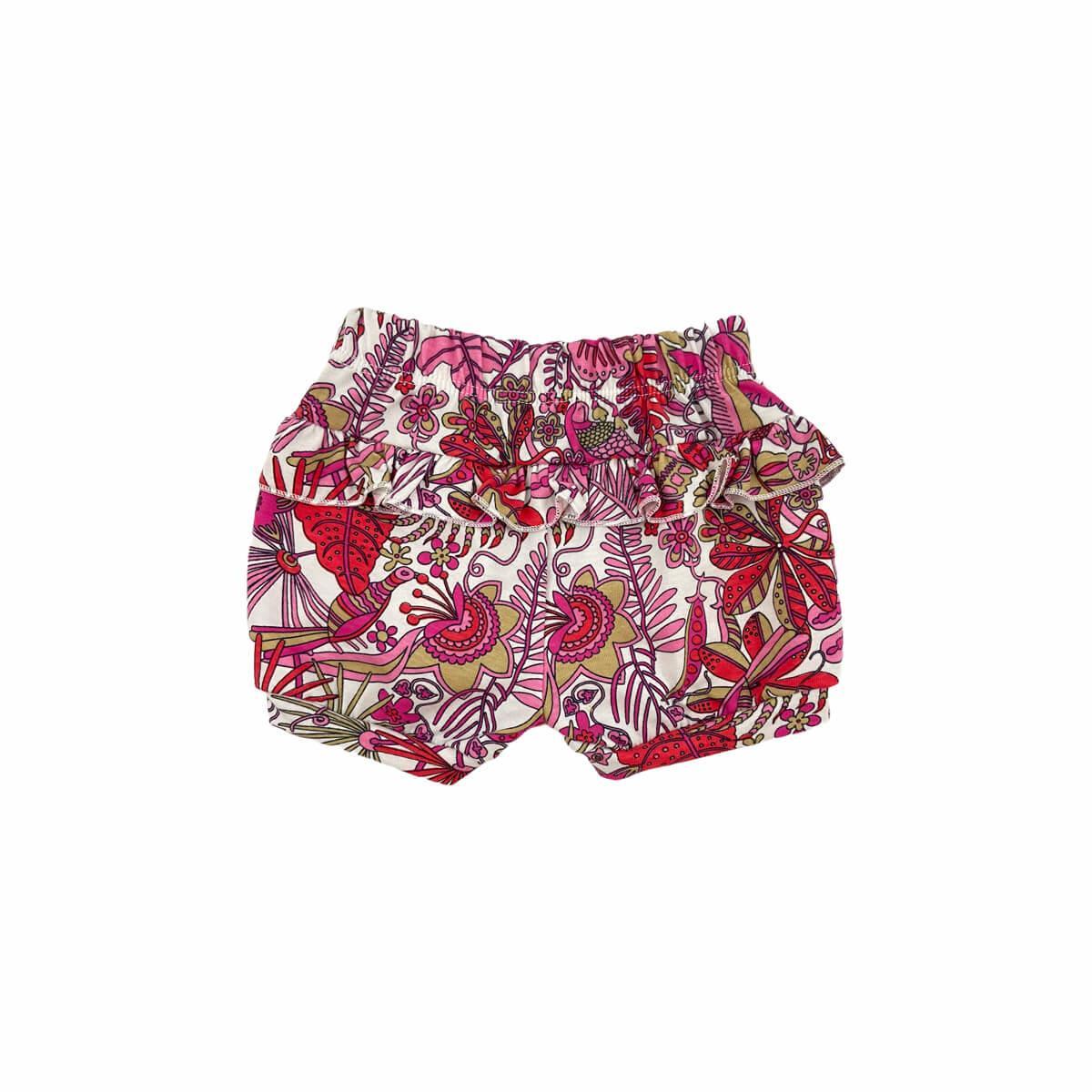Shorts Feminino Folhas Meia Malha 100% Algodão