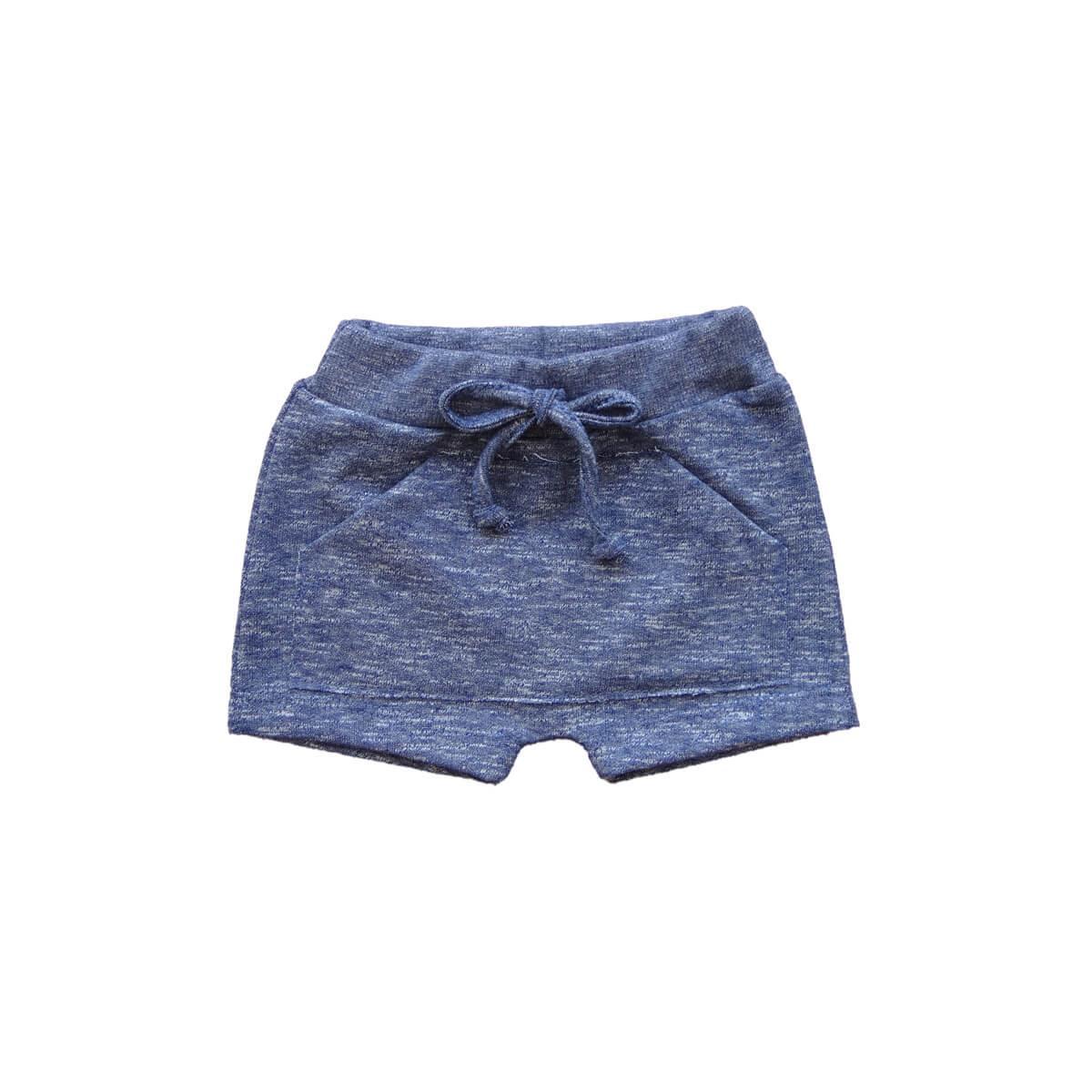 Shorts Saruel Moletinho Marinho 1 ao 3 Moletinho  - Piu Blu