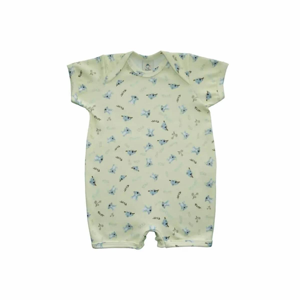 Macacão Bebê Curto Coala Amarelo  - Piu Blu